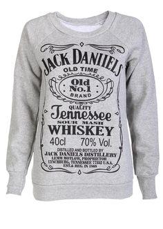 Grey Jack Daniells Sweat Shirt - Womens Clothing Sale, Womens Fashion, Cheap Clothes Online | Miss Rebel