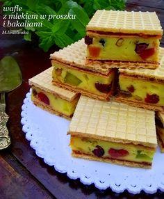 Domowa Cukierenka - Domowa Kuchnia: wafle z mlekiem w proszku i bakaliami Polish Recipes, Dessert Recipes, Desserts, Homemade Cakes, Food And Drink, Bread, Cookies, Breakfast, Easy