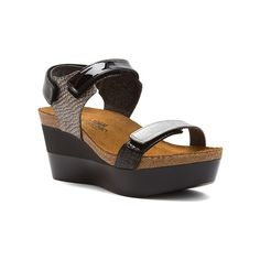 Naot Miracle Sandals ($165) ❤ liked on Polyvore featuring shoes, sandals, gray lizard multi leather, platform sandals, women's, platform shoes, grey wedge shoes, platform wedge sandals and grey wedge sandals