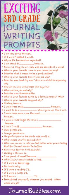 57 Exciting Journal Starters & Prompts and for Graders Explore this fabulous list of journal prompts for graders! May your students' journaling adventures be filled with joy, fun, and creativity. 3rd Grade Writing Prompts, Third Grade Writing, Writing Prompts For Kids, Writing Activities, Paragraph Writing, Family Activities, Writing Rubrics, Opinion Writing, Persuasive Writing
