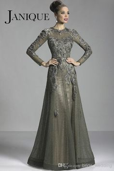 Discount 2014 Glamorous Olive Long Sleeve Lace Mother Of The Bride Dresses Applique Sheer Crew Neck Formal Evening Gowns W327 Online with $137.3/Piece | DHgate