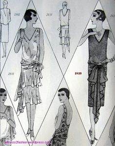 Butterick patterns for evening frocks, # 2135 and 2125. July 1928.