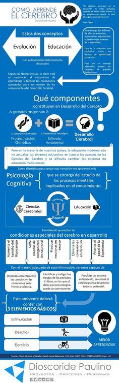 """Comparto esta infografia sobre """"Como aprende el Cerebro"""" basado en el libro de la afamada investigadora de Neurociencias, Sarah-Jayne Blakemore."""