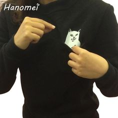 Harajuku Spoof Cat Cute Hoodies Ladies Pocket Sudaderas Mujer 2017 O-neck Moletom Feminino Long Sleeve Women Sweatshirt T95