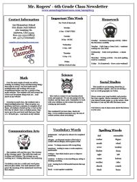 Blank classroom newsletter for teachers and students teaching classroom newsletter templates pronofoot35fo Images