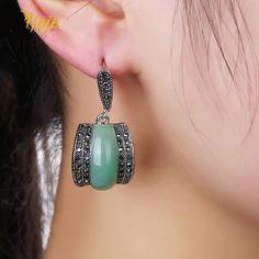Luxury Geometric Green Stone Earrings Antique Silver Color Black Rhinestones e9e4e1c5d9ec