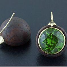 A pair of ebony peridot and gold earrings by James de Givenchy. Bijoux Peridot, Peridot Jewelry, Gems Jewelry, Heart Jewelry, Fine Jewelry, Givenchy, Aqua Blue, Diamond Earing, Stone Earrings