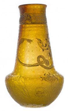 DAUM ENAMELED AND PARCEL-GILT CAMEO GLASS VASE
