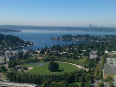 A view of Lake Washington from a Bellevue skyscraper.