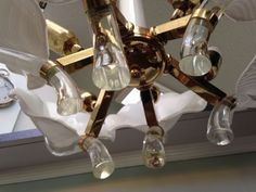 Murano-Art-Deco-Glass-Leaf-Brass-Hollywood-Regency-Chandelier-Lamp-Light