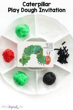 A fun caterpillar play dough invitation that kids love! This spring play dough activity is a great sensory and fine motor experience! Toddler Preschool, Toddler Activities, Book Activities, Nursery Activities, Montessori Preschool, Toddler Learning, Activity Ideas, Preschool Ideas, Early Learning