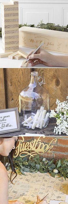 Wedding Guest Book Alternatives - Don't get a dull, traditional guest book for wedding guest signatures. Be creative with a guest book alternative that will be noticed and can even be fun. From puzzles to growlers, your imagination is the only limit to what you can use for wedding guest signatures. #weddingguestbookalternatives #guestbookideas #weddings