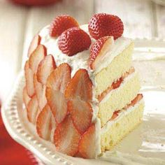 Strawberry Cream Cake Recipe from Taste of Home -- shared by Agnes DeLeon of Melrose, Montana