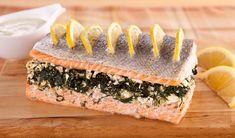 Spinach & Feta Stuffed Salmon - In the Kitchen with Stefano Faita Salmon Recipes, Fish Recipes, Seafood Recipes, Great Recipes, Snack Recipes, Seafood Meals, Cooking Recipes, Favorite Recipes, Cooking Ideas