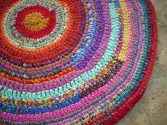 Crocheted rugs from recycled fabrics
