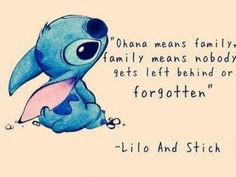 I got: Ohana means family, family means nobody gets left behind or forgotten.! What Is Your Disney Quote?