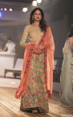 Best of India Couture Week 2015 - Pale Blue Floral Lehenga with Silk Lattice Blouse by Monisha Jaising