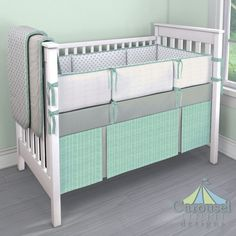 Crib bedding in Solid Cloud Gray, Natural Minky Chenille, Gray Chelsea, Mint Herringbone. Created using the Nursery Designer® by Carousel Designs where you mix and match from hundreds of fabrics to create your own unique baby bedding. #carouseldesigns