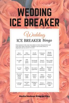Bridal Shower Ice Breaker Game Coral Wedding Human Bingo Cards image 3