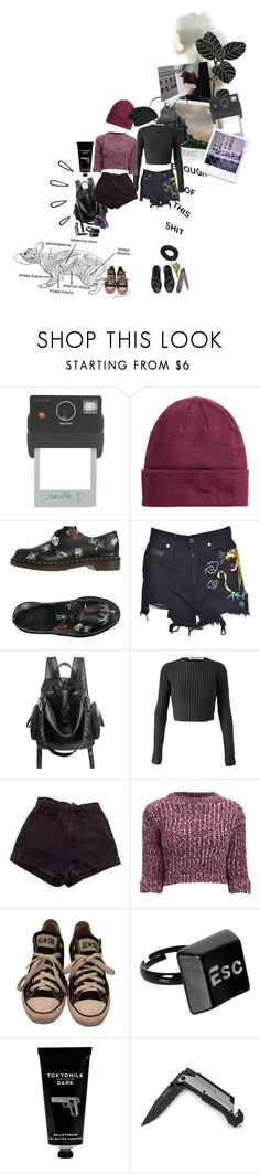 """don't walk alone"" by she-is-mystery ❤ liked on Polyvore featuring Polaroid, Donkey Products, Jean-Paul Gaultier, Dr. Martens, Marcelo Burlon, T By Alexander Wang, American Apparel, Girls On Film, Converse and ASOS"