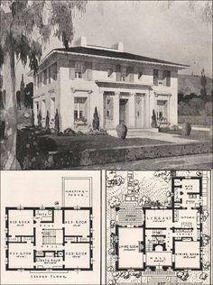 Italian Renaissance Style House - Francis Pierpont Davis - 1916 California Architecture: