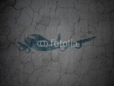 Travel concept: Airplane on grunge wall background