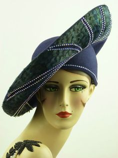 9e5e185285d68 VINTAGE HAT JACK MCCONNELL DEEP BLUE ASYMMETRIC SAUCER RED FEATH ORIG.  STUNNING!