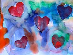 The Day It Rained Hearts!!!!  Watercolor heart lesson