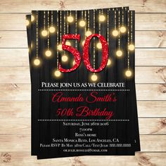 Red and Gold 50th birthday invitations, Red Gold Birthday Party Invitations, Red…