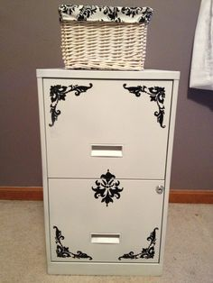 Update a boring file cabinet with paint and stencils to match your basket liners !