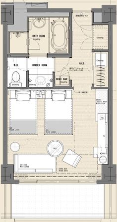 hotel room 69 Ideas For Bedroom Design Hotel Floor Plans Plan Hotel, Hotel Floor Plan, The Plan, How To Plan, Hotel Bedroom Design, Design Hotel, Resort Plan, Planer Layout, Apartment Plans