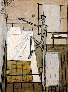 Bernard Buffet // Homme nu dans la chambre - 1948  huile sur toile 197 x 145 cm ©ADAGP