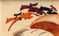 Sybil Andrews (English, 1898-1992), Steeplechasing, 1932, linoleum cut in three colors, printed from 3 blocks in Chinese orange, alizarin purple madder and Prussian blue on buff oriental laid tissue paper, 6 x 10 3/4 inches.