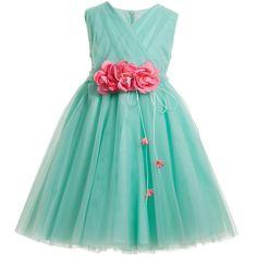 Aletta Tulle Green Dress & Pink Floral Belt at Childrensalon.com