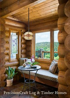 Love the big logs. And this little nook is So cute and perfect to read a book wrapped in a blanket with a cup a Joe. Awww yeah..