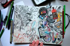 Some sketches and collages from my sketchbooks.