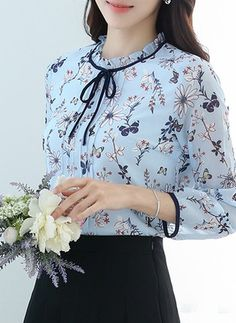 Floral Vintage Cotton High Neckline 3/4 Sleeves Blouses (1645126978)