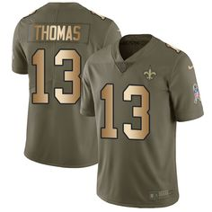 Nike New Orleans Saints Youth #13 Michael Thomas Limited Olive/Gold 2017 Salute to Service NFL Jersey