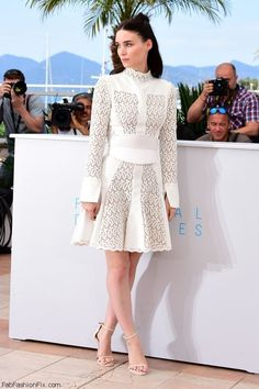 "Rooney Mara in Alexander McQueen dress at the ""Carol"" Photocall during the 2015 Cannes Film Festival. #cannes"