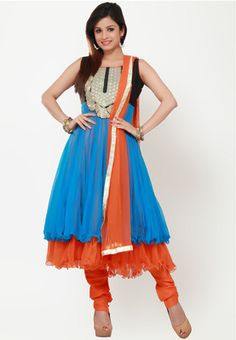BARCODE 91 Sleeve Less Embroidered Blue Suit Set - Multicoloured Anarkali suit set for women from Barcode91. Made from net, it comes with a salwar, dupatta and a sleeveless kurta featuring embroidery and flared fit.