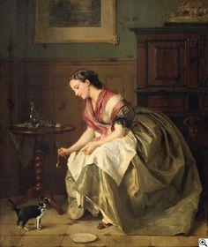 Jean Baptiste Antoine Emile Béranger - Genreszene. Junge Frau füttert ein Kätzchen in der Stube