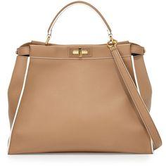 Fendi Peekaboo Large Satchel Bag, Beige Multi (143 950 UAH) ❤ liked on Polyvore featuring bags, handbags, satchel handbags, beige purse, fendi satchel, satchel style purse and fendi handbags