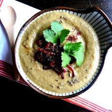 Smoky eggplant & cumin soup with sweet red onion topping (vegan + grain, gluten, nut & sugar-free) - Opti Cook Plant Based Recipes, Vegetable Recipes, Soup Recipes, Cooking Recipes, Atkins Recipes, Fast Recipes, Recipies, Sugar Free Recipes, Healthy Cooking
