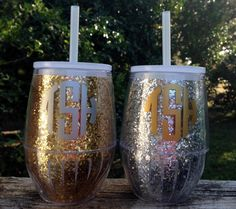 Monogrammed Stemless Glitter Wine Glass in by HuffShuffLane, $12.00