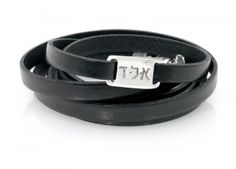Black or Brown Handmade per Order For Men and Women XL Kabbalah Leather Cuff Bracelet with Customizable Engravings on Silver Ring