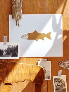 Salmon Gold Foil Art Print   Sycamore Street Press