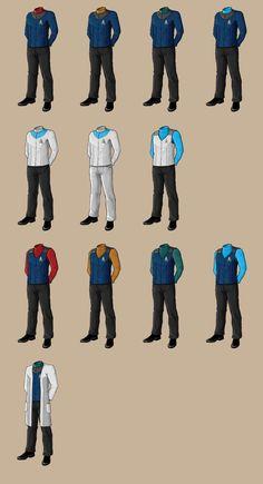 Star Trek Uniforms by samuriplatypus on DeviantArt Star Trek Uniforms, Star Trek Universe, For Stars, Sci Fi, Uniform Ideas, Star Wars, Deviantart, Muji, Fallout