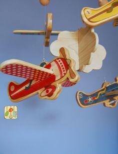 Baby Mobile Airplanes - Wood Mobile - Vintage Airplanes, via Etsy.