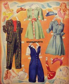 SLUMBER PARTY Paper Dolls: Nancy, Betsy, Carol, Jeanie, Patty  #4854 Merrill 1943 <> 5 0f 7