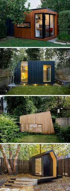 Shed Plans - Here are 14 examples of modern backyard home offices, art studios, gyms, and hideouts that take backyard sheds to a whole new level. - Now You Can Build ANY Shed In A Weekend Even If You've Zero Woodworking Experience! Backyard Office, Backyard Studio, Backyard Sheds, Garden Studio, Modern Backyard, Garden Office, Shed Office, Backyard House, Garden Sheds